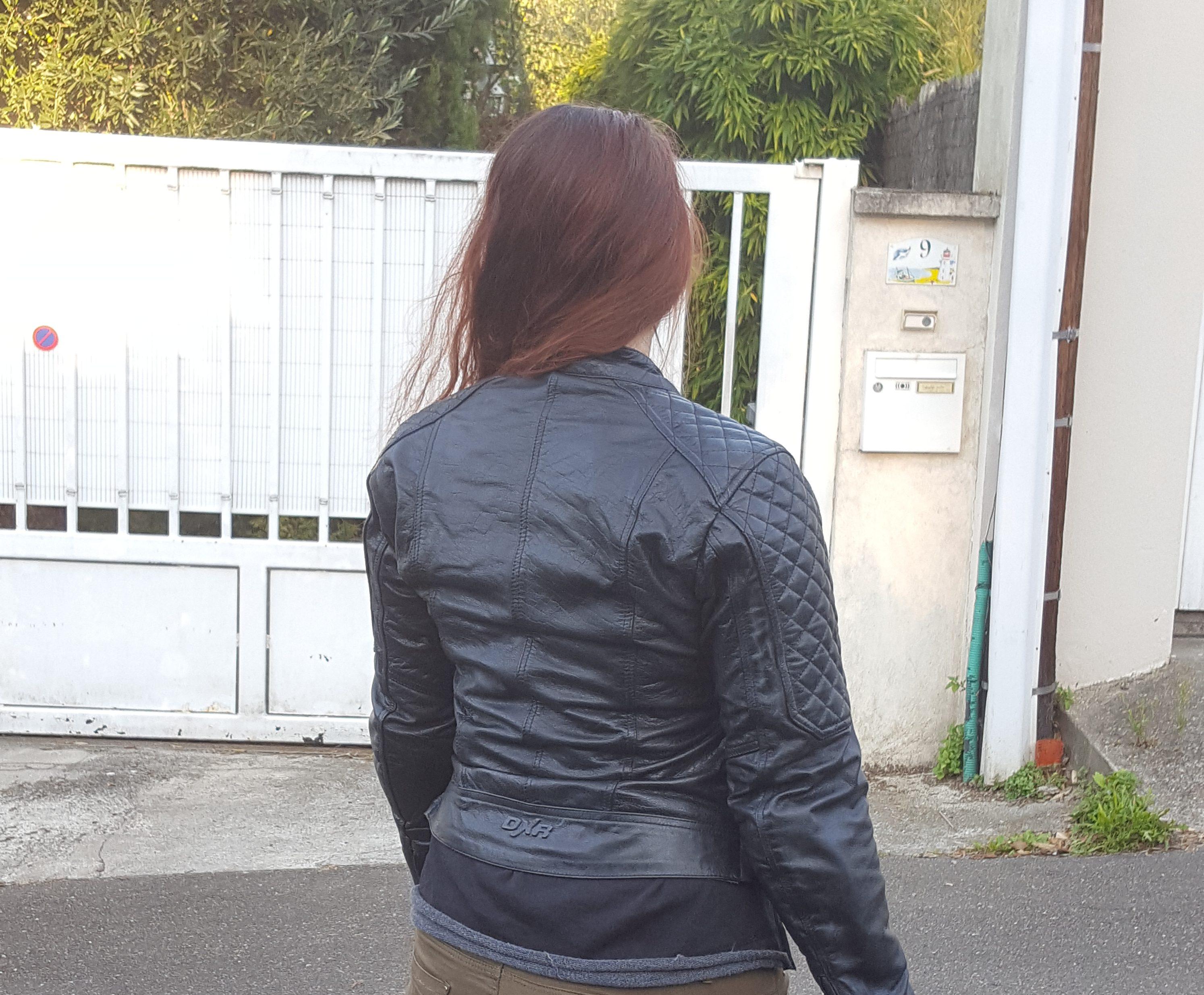 cuero azul chaqueta dxr diana