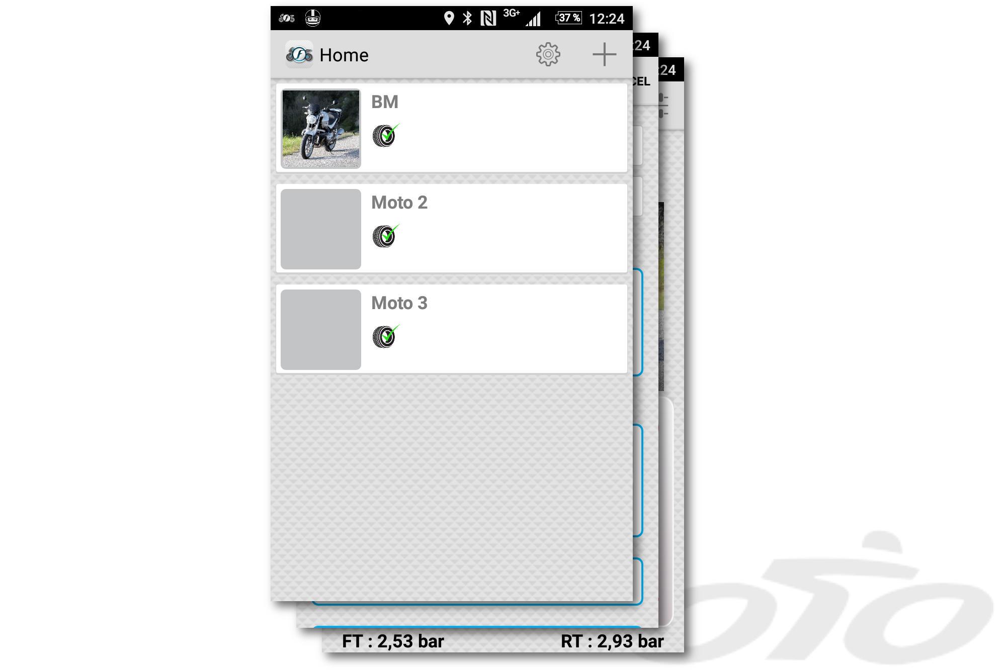 El menú que permite acceder a los diferentes perfiles de moto configurados en vuestra aplicación